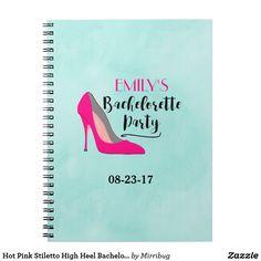 Hot Pink Stiletto High Heel Bachelorette Party Spiral Notebook