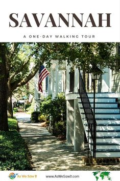 "Savannah, Georgia is a slow, Southern drawl of a city, with canopies of tree branches shading its streets as they drip miles of lacy Spanish moss from their branches. Savannah's historic district is renowned for its beauty, peppered every few blocks with a lush miniature park that just begs visitors to ""set a spell."" Click through to see our itinerary for a walking tour that can be done in one day in Savannah, Georgia. 