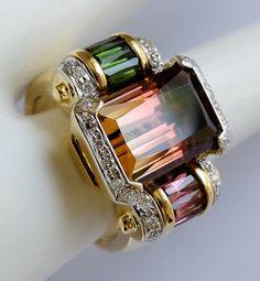 "Bellarri ""Romantic Reflections"" 18K Yellow Gold Bi-Tourmaline, Green Tourmaline, Pink Tourmaline & Diamond Spinner Ring"