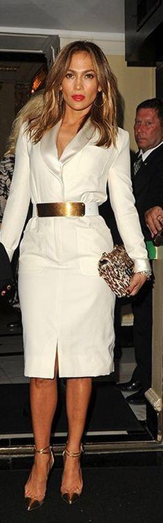 Jennifer Lopez: Dress and belt – Reem Acra  Purse – Valentino  Shoes – Christian Louboutin