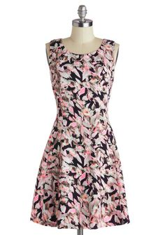 Say Highlight Dress - A-line, Scoop, Mid-length, Woven, Pink, Black, Grey, Floral, Party, Sleeveless, Better, Daytime Party, Neon, Statement, Summer