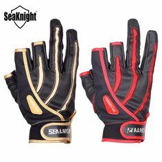 SeaKnight SK01 Outdoor Fishing Gloves 1Pair 3 Finger Cut Breathable Anti-Slip Gloves Neoprene cloth&PU Sport Fishing Equipment