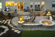 Patio with fire pit,