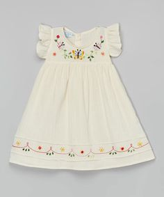 Little Cotton Dress Natural Hanna Butterfly Embroidered Dress - Infant & Toddler Toddler Dress, Toddler Outfits, Baby Dress, Kids Outfits, Infant Toddler, Toddler Girls, Baby Girl Dress Patterns, Little Girl Dresses, Embroidery On Clothes