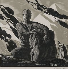 Rockwell Kent, Voyaging (Self Portrait) or (The Wayfarer), Wood engraving | Philadelphia Museum of Art