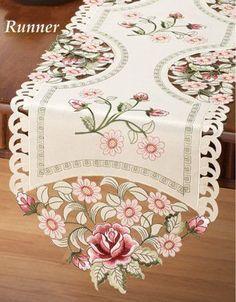 Elegant Embroidered Rose Table  