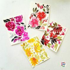 Some post card paintings to giveaway in my April 30 workshop  #calligrafikas #grafikas #dreweuropeo #illustration #watercolor #grafikaflora #botanicalwatercolor