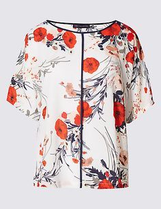 Loose Fit Poppy Print Shell Top | M&S
