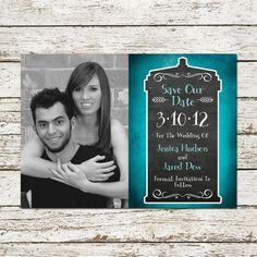 Dr Who Printable Save the Date Card - tardis blue sci-fi doctor wedding custom photo print