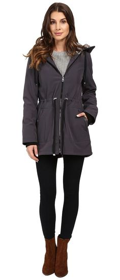 Jessica Simpson Anorak Softshell w/ Printed Hood Lining (Steel) Women's Coat - Jessica Simpson, Anorak Softshell w/ Printed Hood Lining, JOHMP338-043, Apparel Top Coat, Coat, Top, Apparel, Clothes Clothing, Gift, - Street Fashion And Style Ideas