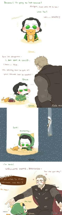 Thor X Loki, Marvel Art, Marvel Heroes, Marvel Avengers, Funny Marvel Memes, Marvel Jokes, Avengers Comics, Baby Loki, Baby Avengers