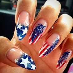 Fourth of july nails acrylic nails nail designs of July 4th Nails Designs, Nail Designs 2014, Fourth Of July Nails Easy, American Flag Nails, Almond Shape Nails, Almond Nails, Nails Shape, Patriotic Nails, Nail Decorations