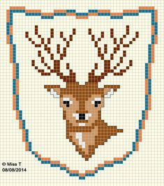 deer free chart cross stitch by Les petits bonheurs de Miss T. This would make a cool slipper for a man with a black silk body