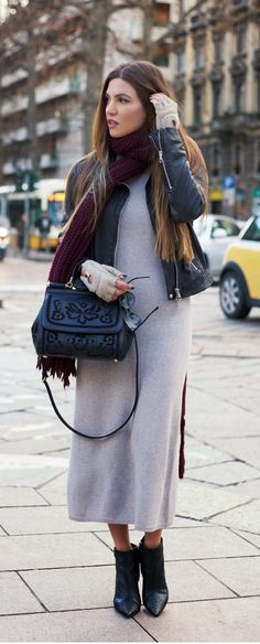 Knitted Dress , Burgundy Scarf , Biker Leather Moto  and Cut-out Leather Tote | Street Chic