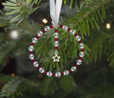 Round Christmas Tree Decoration w. Swarovski Red & Clear Crystals & Hanging Star - Round Christmas Tree Decoration w. Beaded Christmas Decorations, Homemade Christmas Decorations, Christmas Ornaments To Make, Christmas Tree Themes, Beaded Ornaments, Ornament Crafts, Christmas Jewelry, Christmas Diy, Christmas Crafts