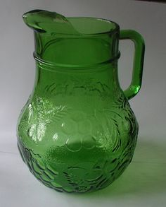 Large Vintage Green Glass Jug Pitcher by SeaweedCurios on Etsy