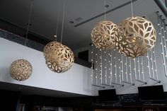 FLORAL pendant lights by David Trubridge at Second Bar + Kitchen in Austin. Click image for where to buy.