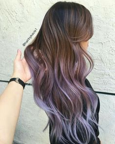 Brunette lilac purple long wavy hairstyle