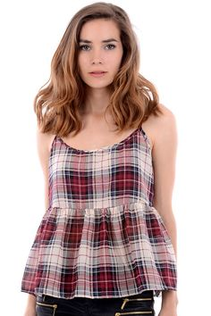 Stand out from the crowd in this strappy tartan peplum top. Key features include a tartan print and peplum design. Simply team with a pair of skinny jeans and gladiator sandals to complete your chic look! Cheap Fashion, Womens Fashion, Gladiator Sandals, Tartan, Bag Accessories, Peplum, Rompers, Skinny Jeans, Chic