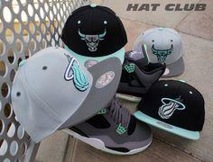 """New Snapbacks @ HAT CLUB: Custom MITCHELL & NESS x NBA """"Green Glow"""" Caps"""
