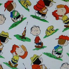 Camp Peanuts Character Toss White Fabric By The Yard