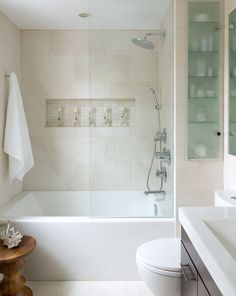This is the inspiration photo for my bathroom makeover. It is absolutely perfect! Small Space Bathroom - contemporary - Bathroom - Other Metro - Toronto Interior Design Group Small Space Bathroom, Small Tub, Small Spaces, Small Bathroom Bathtub, Bathroom Niche, Bathtub Alcove, Built In Bathtub, Relaxing Bathroom, Open Small Bathrooms