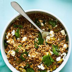 Farro, green olive and feta salad from Sunset magazine - made this for lunch today, so good! With great zesty kick from Meyer lemons.