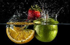 My first attempt at High Speed Photography using fruit and water. With help from Tom- www.flickr.com/photos/tgs98/