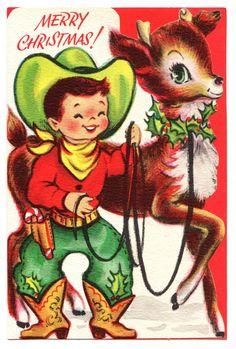 VINTAGE UNUSED CHRISTMAS CARD / COWBOY WITH REINDEER / CHILDRENS DIECUT GREETING