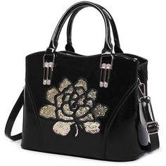 Sequin Flower Pantent Leather Handbag
