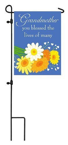 """Grandmother Cemetery Flag by House-Impressions. $5.99. Words can be read from either side. 12.5"""" x 18"""". More durable and less expensive than flowers. Add warmth and color to a special memorial site with a bouquet of wildflowers collected beautifully with careful attention. Against a deep blue, this flag reminds, """"Grandmother, you blessed the lives of many."""" With every eye-catching flap in the wind, memories are cherished and love continues on.. Save 62%!"""