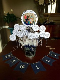 33 reference of table decoration Banquet volleyball table decoration Banquet volleyball- Plea Volleyball Decorations, Volleyball Crafts, Volleyball Locker, Volleyball Team Gifts, Volleyball Tournaments, Volleyball Training, Locker Decorations, Volleyball Drills, Coaching Volleyball