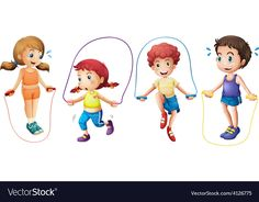 Children and jumprope vector image on VectorStock Art For Kids, Crafts For Kids, Cartoon Sun, Lovely Girl Image, Traditional Games, Pre School, Life Skills, Homemade Cards, Preschool Activities