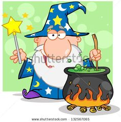 Wizard Waving With Magic Wand And Preparing A Potion. Raster Illustration.Vector Version Also Available In Portfolio.