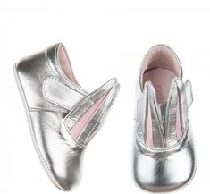 DESCRIPTION The most loved MP style in an adorable, shiny silver ballerina style shoe. Perfect for first walkers! Pair with our Mini and Adult version for the Baby Bunnies, Bunny, First Walkers, Christening Gifts, Ballerina, Baby Gifts, Fashion Shoes, Loafers, Pairs