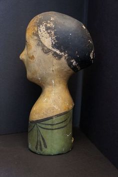 19th C. Milliners paper mache head as is no restoration nice as found