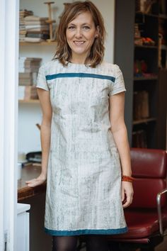A very cool version of the Merchant & Mills Camber Dress pattern...love the stripe!