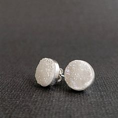 White Druzy earrings Sterling Silver by BarronDesignStudio on Etsy