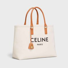 Horizontal Cabas Celine in Canvas with Celine print and calfskin - Brown Luxury Purses, Luxury Bags, Leather Key, Leather Handle, Bag Closet, Cool Gadgets To Buy, Hermes Bags, Celine Bag, Beach Tote Bags