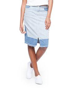 This paperdenim&cloth Blue Jane Patchwork Denim Pencil Skirt by paperdenim&cloth is perfect! #zulilyfinds