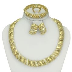 2017 women fashion african costume beads jewelry set 18 k gold plated fashion wedding women bridal accessories necklace set