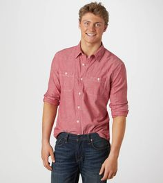 American Eagle Outfitters Men's Red Chambray Shirt