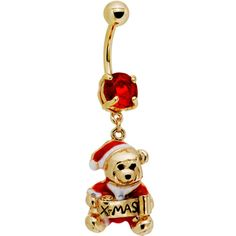Red Gem Holiday Teddy Bear Belly Ring | Body Candy Body Jewelry