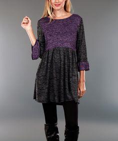 Look at this #zulilyfind! Deep Gray & Purple Color Block Scoop Neck Tunic - Plus #zulilyfinds