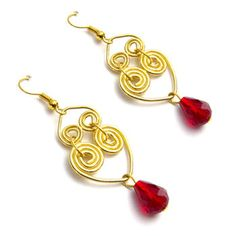 18k Gold plated Coiled Heart earrings