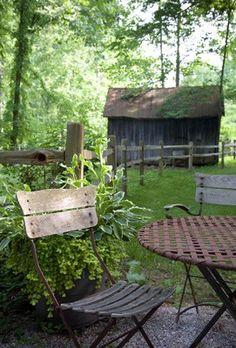 Old Farm House Lawn Furniture, Shed in Background