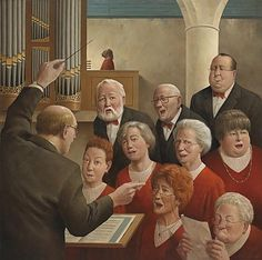 """""""Pipe Up"""" . by Marius van Dokkum - Dutch Artist and Illustrator (NOTE: Do you s'pose that is Jesus sitting in the rear playing the organ? Michael Sowa, Art Et Illustration, Illustrations, Figure Painting, Painting & Drawing, Art Des Gens, Christian Comics, Theme Noel, Dutch Painters"""