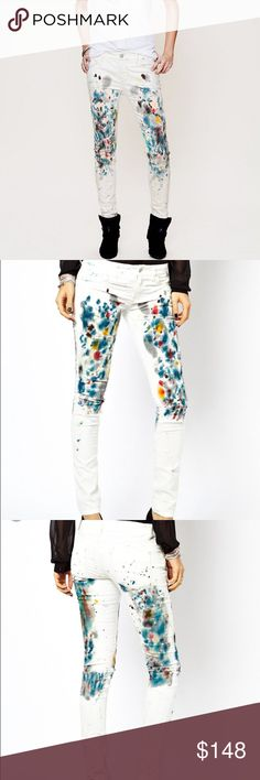 """Free people painted skinny cord 5-pocket skinny corduroys with colorful painted detailing on front and back of each leg. Zipper and button fly closure. *98% Cotton, 2% Spandex *Machine Wash Cold *Import Measurements for Size 27: Waist (all around): 30"""" Hips (all around): 37"""" Rise: 8 1/4"""" Inseam: 30"""" Leg Opening.  No trades. All sales final. Free People Jeans Skinny"""