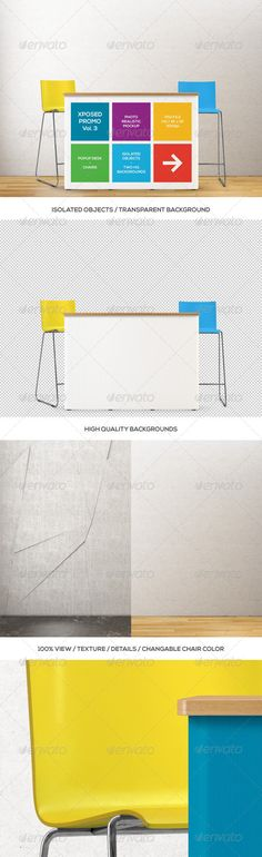Xposed Promo Vol.3 / Popup Desk and Chairs Mockup #GraphicRiver Xposed Promo Vol.3 / Popup Desk and Chairs PSD Mockup Features High Quality, Photo Realistic Render High Resolution: 4096×3072px / 300dpi Ideal for iPad / High Resolution Displays / Print Includes Standard Size Popup Desk and Two Chairs (Changeable Color) All Objects are Isolated on Transparent Background! Smart Object for Applying Your Designs (Help File Included) Fully Layered and Organized PSD File Two High Quality Backdrops…