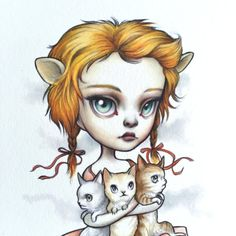 Leo - Zodiac fille signé lowbrow pop surréalisme de 8 x 10 tirage d